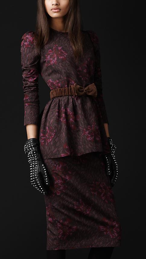 Burberry Peplum Floral Print Dress