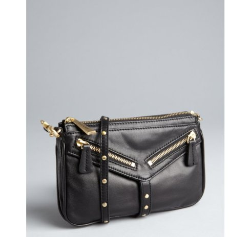 Botkier Black Leather 'Trigger Moto' clutch