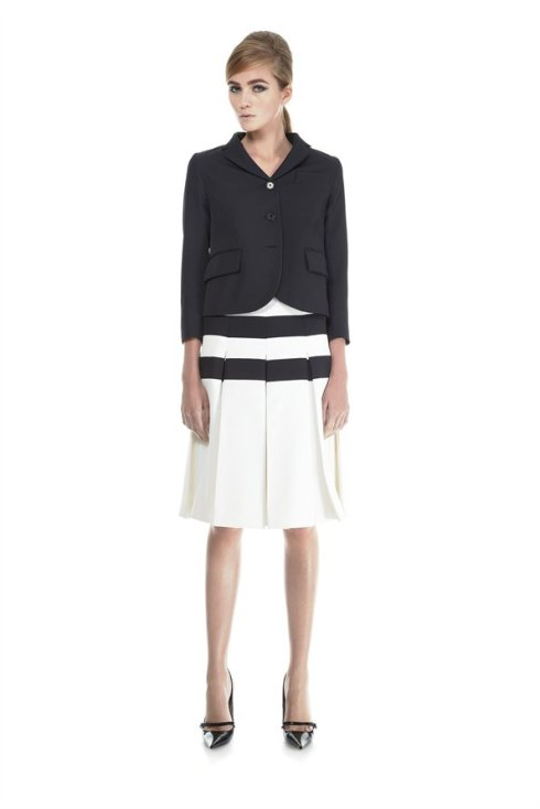 Marc Jacobs Pleated Skirt with Horizontal Stripes
