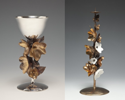 Silver Goblet and Vine Candlestick by David Wiseman