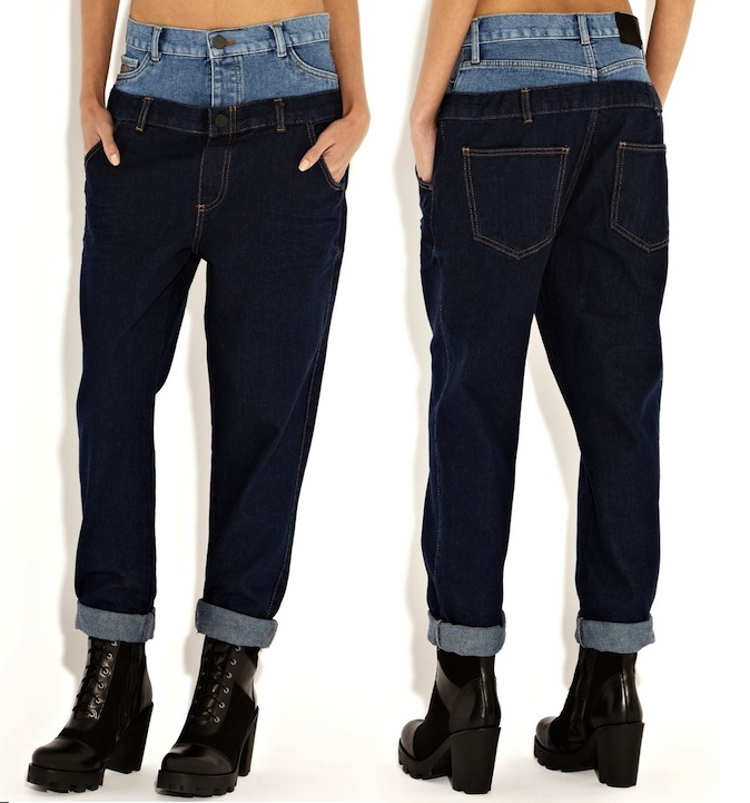 Rihanna for River Island Dark Wash Double Top Straight Jeans