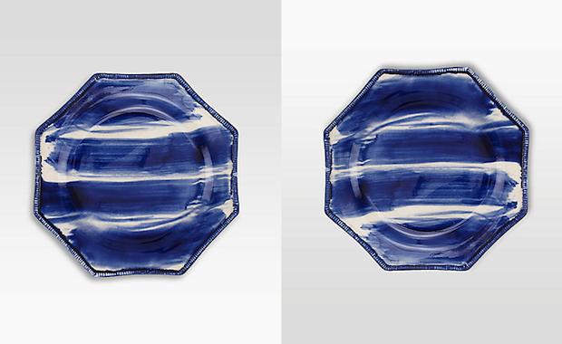 oscar de la renta brushstroke blue and white ceramic stoneware plate